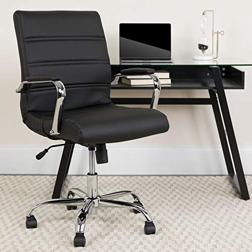 Flash Furniture Mid-Back Black LeatherSoft Executive Swivel Office Chair with Chrome Base and Arms