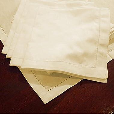 Hemstitch Dinner Napkins Set of 12 - Ivory - One Dozen - 100% Egyptian Cotton - Elegant Cloth - Super Value Bulk 12 Pack