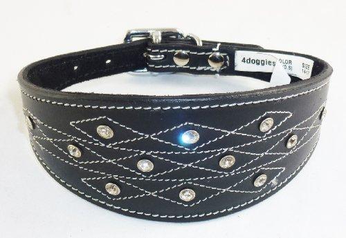 4doggies Collier en cuir pour chien lévrier whippet Motif imitation diamants/couture apparente Noir 30-35 cm