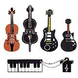 LEIZHAN 5x8GB USB Flash Drive Musical Instruments USB 2.0 Memory Stick Pendrive(Yellow Guitar,Red Guitar,Cello,Violin,Piano)