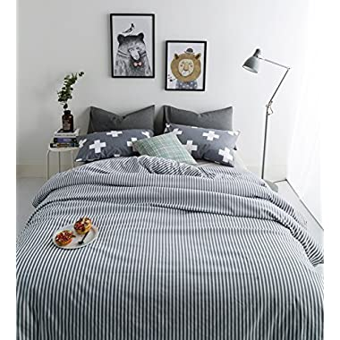 3 Piece Duvet Cover Set Duvet Cover with 2 Pillow Shams - Hotel Quality 100% Cotton - Luxurious, Comfortable, Breathable, Soft and Extremely Durable Full / Queen Size