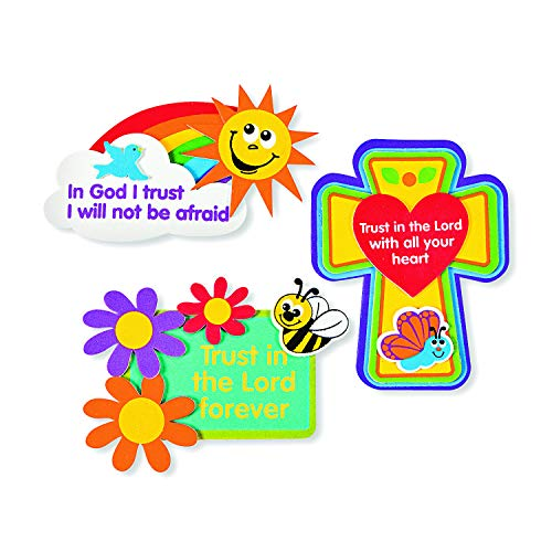 Trust In The Lord Magnet Craft Kits (1 dz)-Sunday School, Easter Craft Activities
