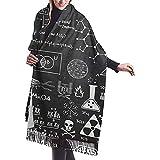 Murales de pizarra científica Imprimir bufanda de cachemira para mujer casual cálida bufanda abrigo chal grande