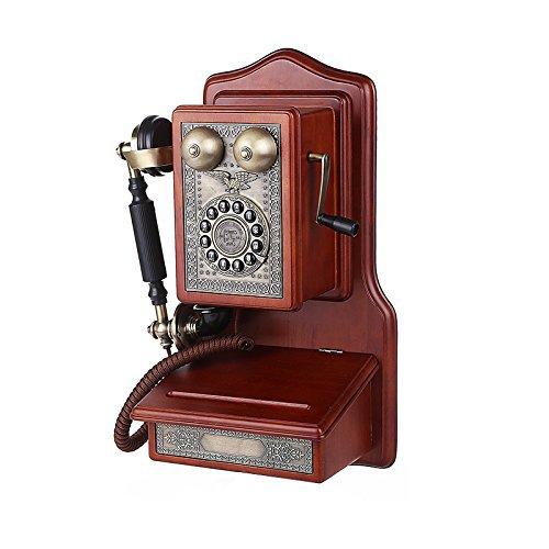 Teléfonos VOIP Teléfono Antiguo Fijo montado en la Pared Europeo/Vintage de Madera del fuselaje de Madera Maciza, aleación Teléfono Retro