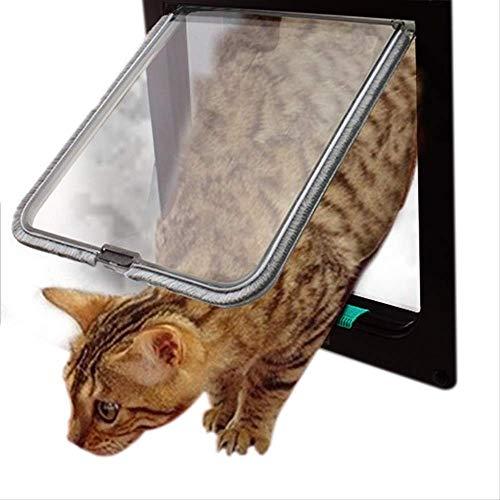 JIAMING Katzenklappe Microchip Hund Flap Abschließbare Tier Hund Katze-Kätzchen-Tür Sicherheits-Klapptür Abs Plasticsmall Haustier Hund Katze Tor Tür Tierbedarf L weiß (Color : Blue, Size : S)