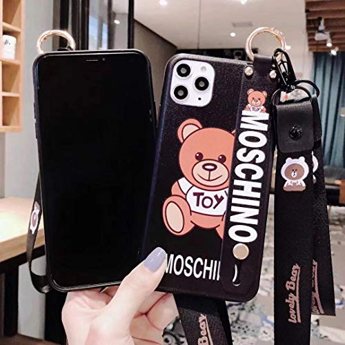 HeavenBird iPhone 11 Pro Max case Moschino Cartoon Cute Beautiful Lanyard Wristband Holder iPhone case(One Moschino)