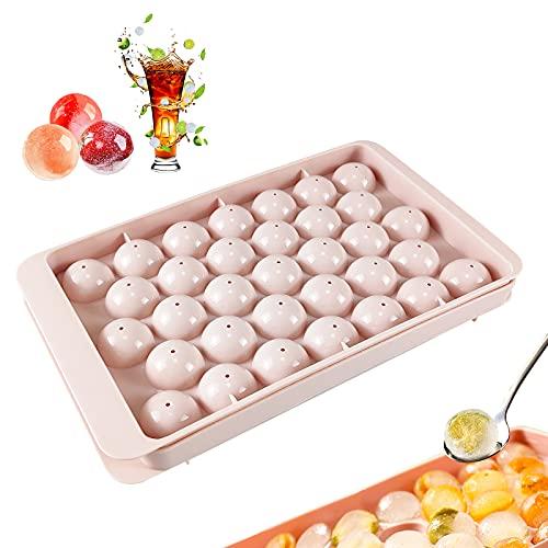 Ealicere Eiswürfelform,1 Pack Eiswürfelbehälter mit Deckel,runde Eiswürfelform aus Kunststoff ,33-Fach Ice Cube Ball Mold,Dicht und auslaufsicher für Whisky, Eisbier, Cocktail(Rosa)