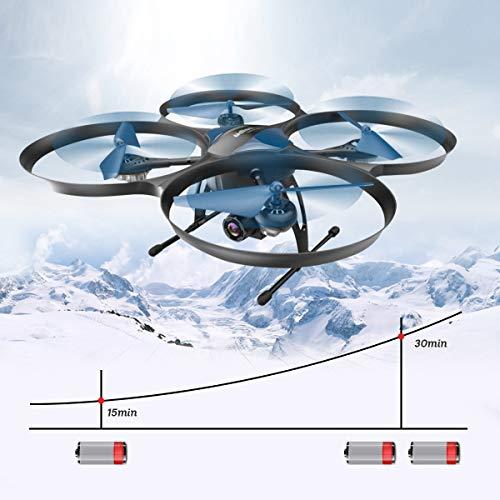 Drohne mit Kamera Live Übertragung,120°Weitwinkel 720P HD Kamera, UDI RC U818A-Plus Wifi FPV Quadrocopter, App-Steuerung, One Key Start/Landung,Headless Modus,Drohne für Anfänger(und 2 Akkus)