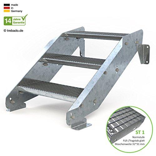 Außentreppe 3 Stufen 60 cm Laufbreite - ohne Geländer - Anstellhöhe variabel von 42 cm bis 64 cm - Gitterroststufe ST1 - feuerverzinkte Stahltreppe mit 600 mm Stufenlänge als montagefertiger Bausatz