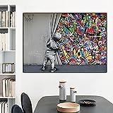 MJKLU Banksy Abstracto Pintura en Aerosol Colorida niño Descubrir Graffiti Pared Lienzo Pintura Pared Arte Cartel Impresiones Imagen Dormitorio Sala de Estar Oficina Estudio decoración del hogar