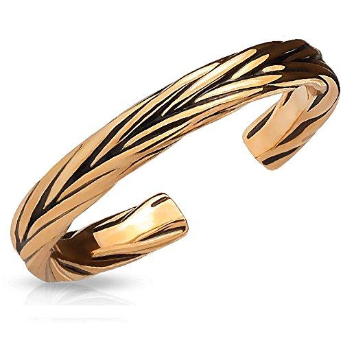Bungsa® Rosegold - Toe Ring verziert für Damen ~IN 3 Farben WÄHLBAR~ Silber Gold rosé (Zehring Fussschmuck Fussring Toe-Ring Nail Ring Nagelring biegbar verstellbar)
