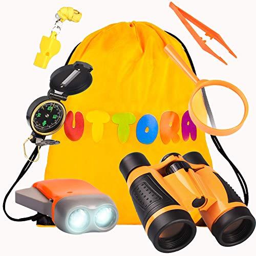 UTTORA Kinder Fernglas Spielzeug Set,Draussen Forscherset Kit Abenteuerspielzeug für Kinder mit Kompass Lupe Taschenlampe Insektensammler,Tolles Lernen Camping Wander Geschenk für Jungen und Mädchen