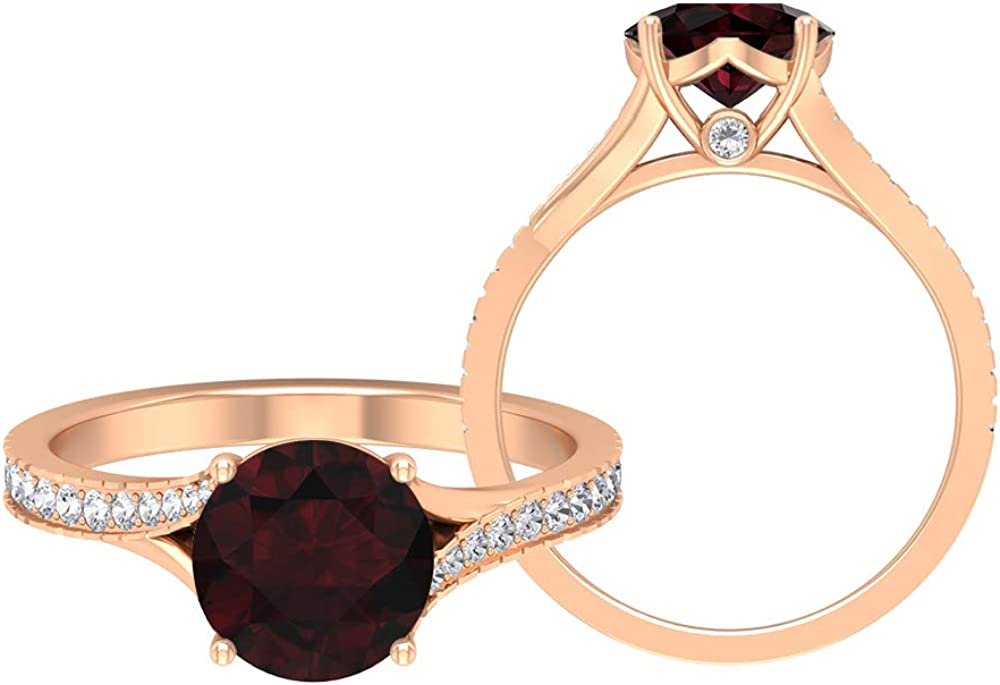 1.97 CT Solitaire Garnet Ring, D-VSSI Moissanite Wedding Ring, 8 MM Round Cut Engagement Ring, Gold Bypass Ring, 14K Gold