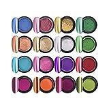Lurrose 12 colores efecto de espejo en polvo de uñas de manicura cromo pigmento en polvo arte del clavo con 12 PC con palos de sombras de ojos para las mujeres niñas