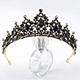 Cagora Black Pricess Crowns and Tiaras Crystal Black Queen Crowns Baroque Rhinestones Crown for Women and Girls Decorative Tiaras Hair Accessories for Halloween Costume Prom Party