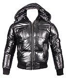 Infinity Men's Detachable Hood Black Leather Puffa Bomber Jacket XS