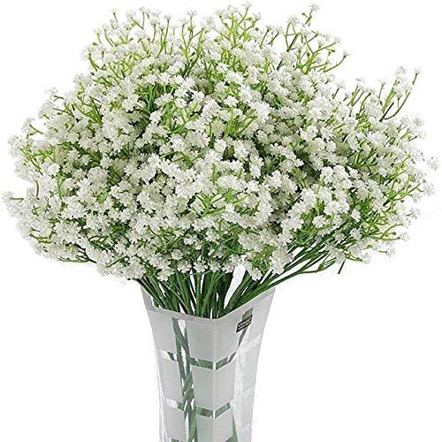 YYHMKB, Paquete de 12 Flores Artificiales, Flores de Aliento para bebés, Ramos de Plantas de Gypsophila Falsas para Boda, hogar, decoración de Bricolaje, A-White