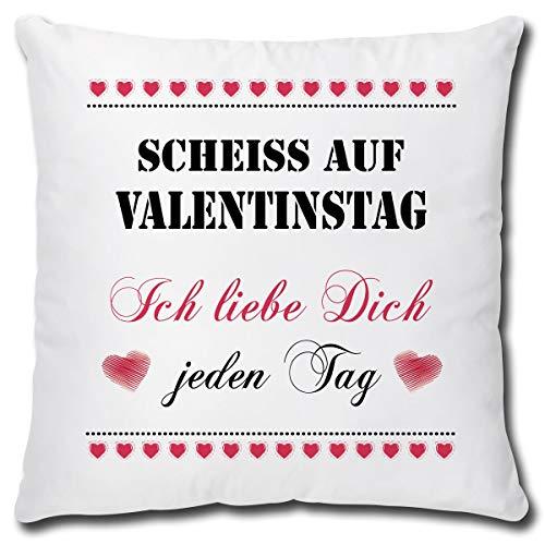 TRIOSK Kissen Scheiß auf Valentinstag lustig mit Spruch Ich Liebe Dich Dekokissen Valentin Geschenk für Sie Ihn Frauen Männer Zierkissen inkl. Füllung 40x40 Weiß Rot