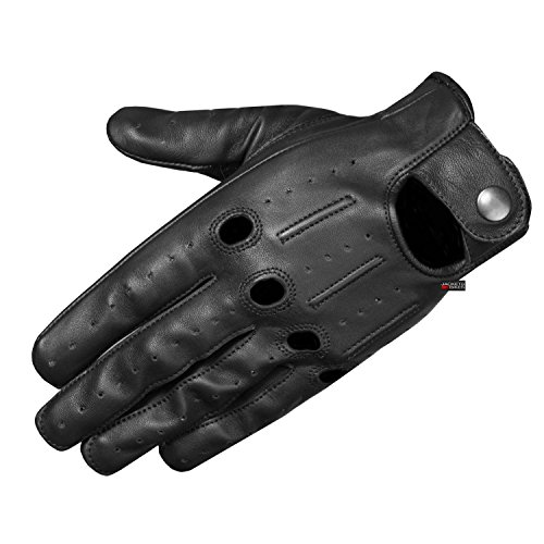 Mens Transporter Genuine Lambskin Aniline Leather Driving Gloves Ventilated M