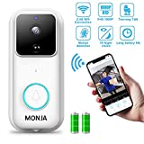 Smart Video Doorbell, Monja FHD 1080P Wireless Security Camera 170°Wide Angle Wifi Doorbell