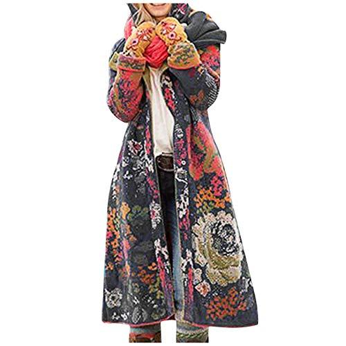 Lazzboy Wintermantel Damen Blume Drucken Frauen Umdrehen Kragen Knöpfe Langarm Jacke Langmantel Winter Warmer Mantel Lange Oberbekleidung Revers Wickel Outwear Mit Taschen (Grau,5XL)
