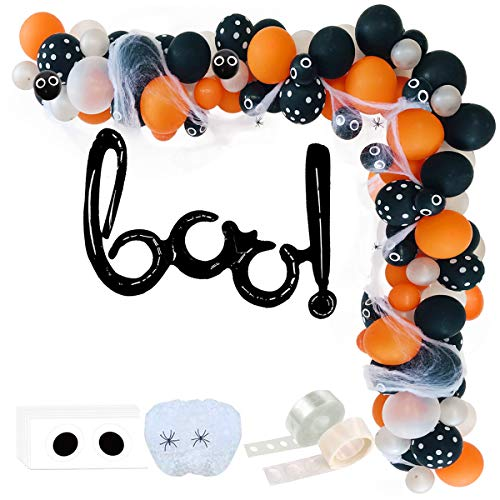 MoonVila Halloween Balloon Arch Garland Kit,Black Silver Orange Black dot Latex Balloons with Fake Spider Web for Halloween Party Decorations