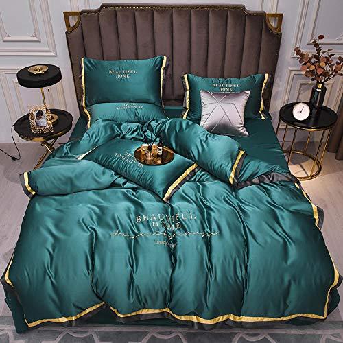 Bedding-LZ Juegos de sábanas de 160x200-d,SIIYE Hoja de Cama de Bordado de Color sólido de Cuatro Piezas fue Lavado-mi_Cama de 180 cm
