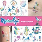 Ooopsi Mermaid Party Supplies Temporary Tattoos for Kids - 7 Large Sheet, 100+ Glitter Styles, Mermaid Party Favors and Birthday Decorations for Children Girls
