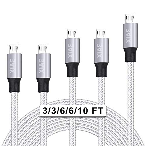 Micro USB Cable,XIAE 5Pack (3/3/6/6/10FT) Nylon Braided Fast Charging Cable Aluminum Housing USB Charger Android Cable for Samsung Galaxy S7 Edge S6 S5,Android Phone,LG G4,HTC and More-Silver&Gray