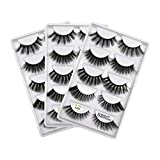 HiPretty 5 Styles 3D Faux Mink Eyelashes, Handmade Reusable Dramatic False Eyelashes Wispies, Thick Long Cruelty-Free FluffyLashes (15 Pairs/3 Pack)…