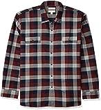 Amazon Brand - Goodthreads Men's Standard-Fit Long-Sleeve Plaid Herringbone Shirt, Navy Eclipse, Medium Tall