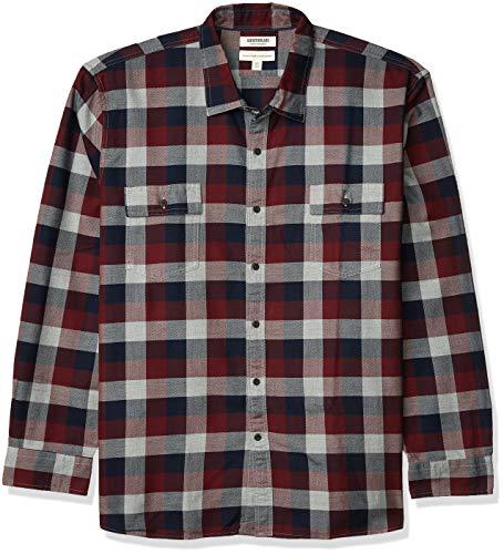 Amazon Brand - Goodthreads Men's Standard-Fit Long-Sleeve Plaid Herringbone Shirt, Navy Eclipse, Large