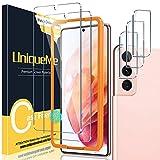 UniqueMe [2+3 Pezzi] Vetro Temperato Compatibile con Samsung Galaxy S21(6.2 Pollici) Pellicola Protettiva + [Bubble-Free] Pellicola Fotocamera Compatibile con Galaxy S21 [Facileinstallare].