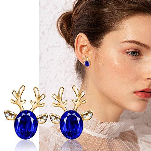 Crystal Gem Stud Earrings for Women - Deer Earrings Holiday Season Cute Pretty Festive Gift for Girls
