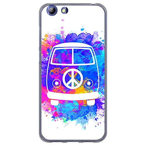 BJJ SHOP Transparent Hülle für [ Elephone S7 ], Klar Flexible Silikonhülle, Design: Hippie Van Aquarell, Jahrgang