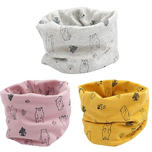 Adorel Sciarpa Snood Scaldacollo Confezione da 3 Bambino Orso Rosa-Giallo-Grigio