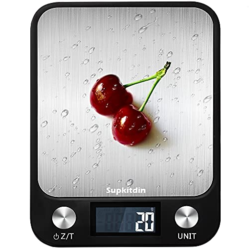Supkitdin Bilancia da Cucina Digitale,10kg 22lb bilancia per alimenti multifunzione, Funzione Peeling, Spegnimento Automatico, Display LCD Precision Bilancia da Cucina - Nero