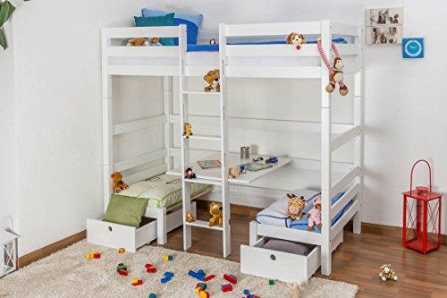 Kinderbett/Etagenbett/Funktionsbett Tim (umbaubar zu einem Tisch mit Bänken oder zu 2 Einzelbetten) Buche massiv weiß lackiert, inkl. Rollrost - 90 x 200 cm