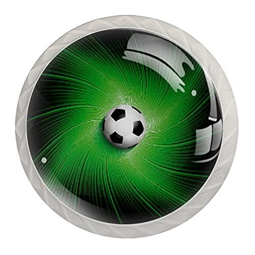 Manijas de armario de cristal de fondo verde para fútbol, aspecto blanco, 4 piezas, 35 mm, para armarios de cocina, aparadores, armarios, armarios