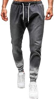 YYG Men's Jogger Pants Elastic Waist Casual Active Color Block Washed Denim Jeans Pants