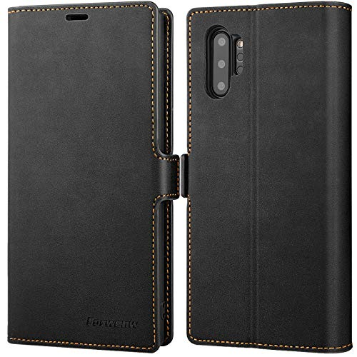 "Galaxy Note 10 Plus Wallet Case Premium Leather Note 10+ Plus Folio Flip Case with Kickstand Card Holder Slots Screen Protector Shockproof Protective Cover for Samsung Galaxy Note 10 Plus 6.8"" (Black)"