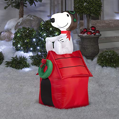 Snoopy on Dog House Air Blown Christmas Decor