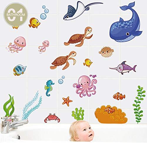 Pegatina de baño impermeable pegatina de pared de dibujos animados de mar de peces para ducha niños bebé bañera azulejo pegatina de baño extraíble