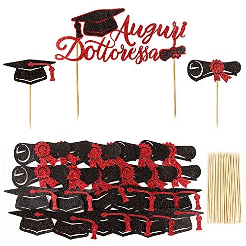 BETESSIN 25Pz Toppers Laurea per Torta Auguri Dottoressa Rosso Decorazione Cupcakes Toppers Addobbi Gadget per Festa Laurea Graduation