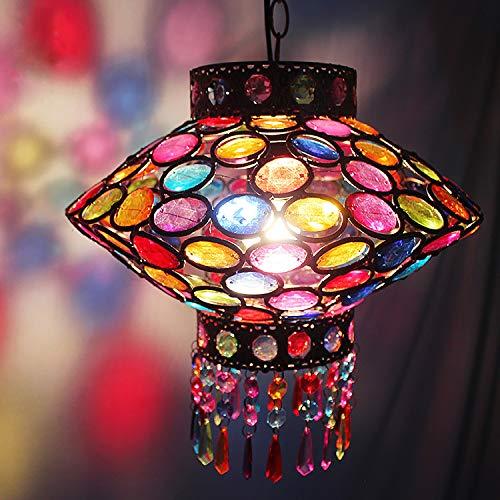 HUUSYGZH Lámpara de Linterna marroquí Adornada, fácil Colgante Ajustado Lightshade Retro Metal acrílico Joya acrílica Estilo marroquí Montaje único con 7 Colores Tassle Beads, 30 cm