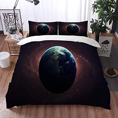 parure de lit adulte,Feuille, Champ d'astronomie Terre Espace Cet astronaute cosmos étoiles Uranus meublé Science Design nébuleuses,1 Housse de couette 240 x 260 cm + 2 Taies d'Oreillers 50 x 80 CM