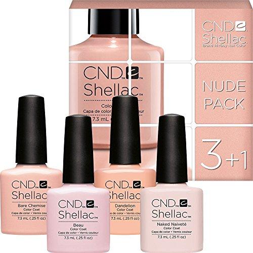 CND Shellac Nail Nude Colour Set, Bare Chemise/Beau/Dandelion/Naked Naivete - 7.3 ml