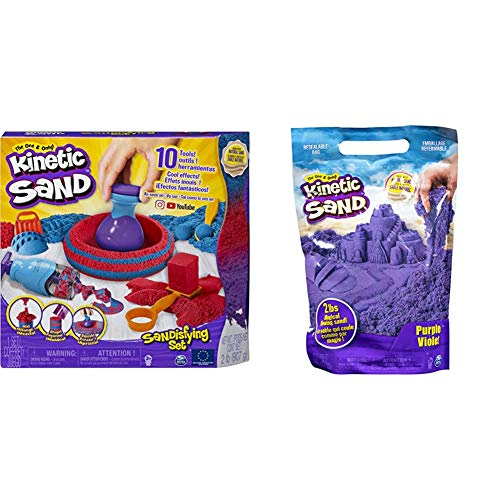 Kinetic Sand 6047232 - Sandisfying Set & 6047184 - 907 g Beutel lila