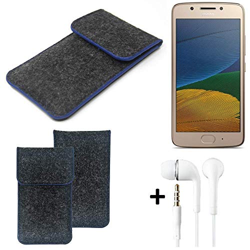 K-S-Trade Filz Schutz Hülle Für Lenovo Moto G5 Dual-SIM Schutzhülle Filztasche Pouch Tasche Handyhülle Filzhülle Dunkelgrau, Blauer Rand Rand + Kopfhörer
