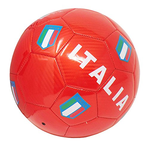 Cucuba® PALLONE DA CALCIO ITALIA CON STEMMI DELLA FEDERAZIONE ITALIANA GIUOCO CALCIO TAGLIA 5 – IDEA REGALO (Colore: Rosso)